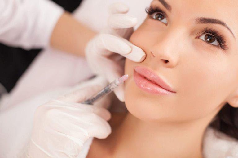 Female patient having dermal fillers