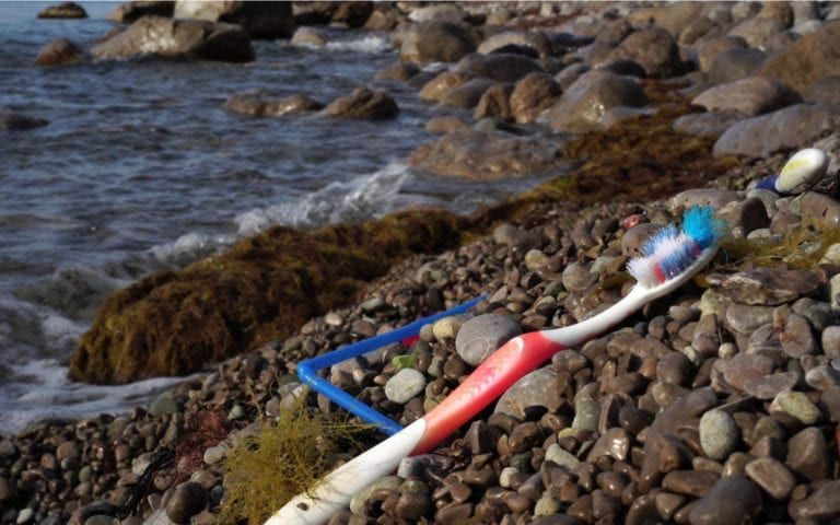 Toothbrush on the beach