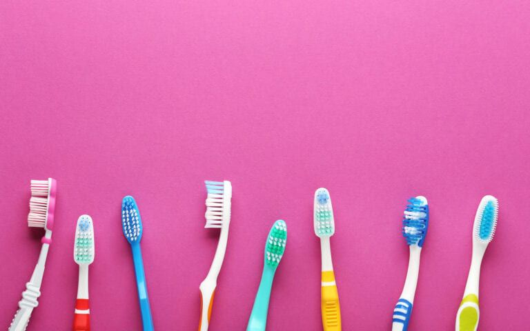 A selection of toothbrushes