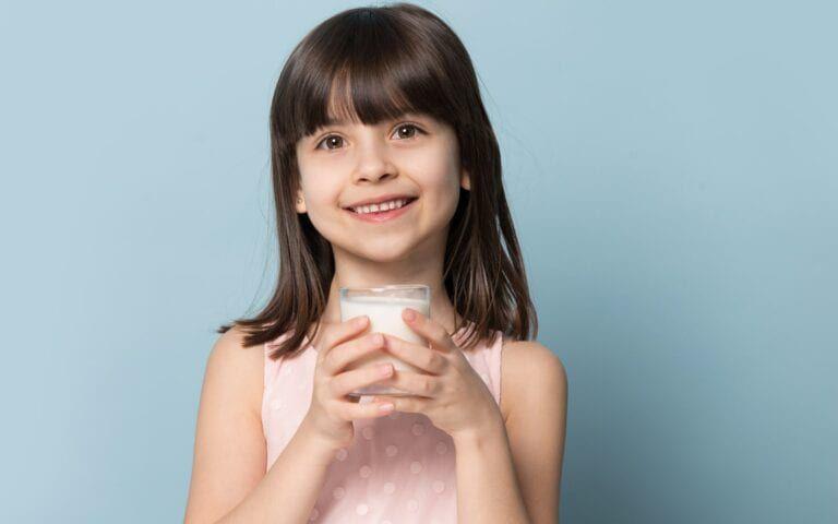 A Child Drinking Milk